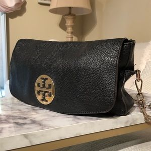 Tory Burch Black Fold Over Pebbled Leather Handbag